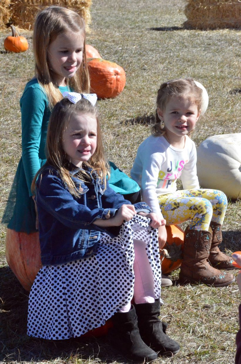 From left, Maddy Charchalis, 5, and Amalea Masterson and Libby Charchalis, both 3, find a different kind of seat at Saturday's pumpkin patch at Wyman Living History Museum.