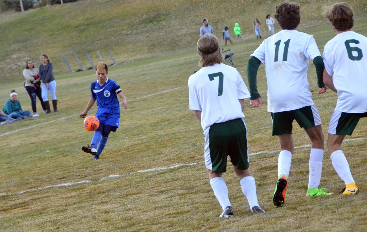 Oysters line up as Moffat County High School's Josh Pando takes a free kick against Colorado Rocky Mountain School.