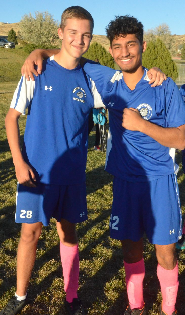 Moffat County High School's Alex Sabol, left and Vlajok Pavlovic gathar following Bulldog soccer's game with Roaring Fork.