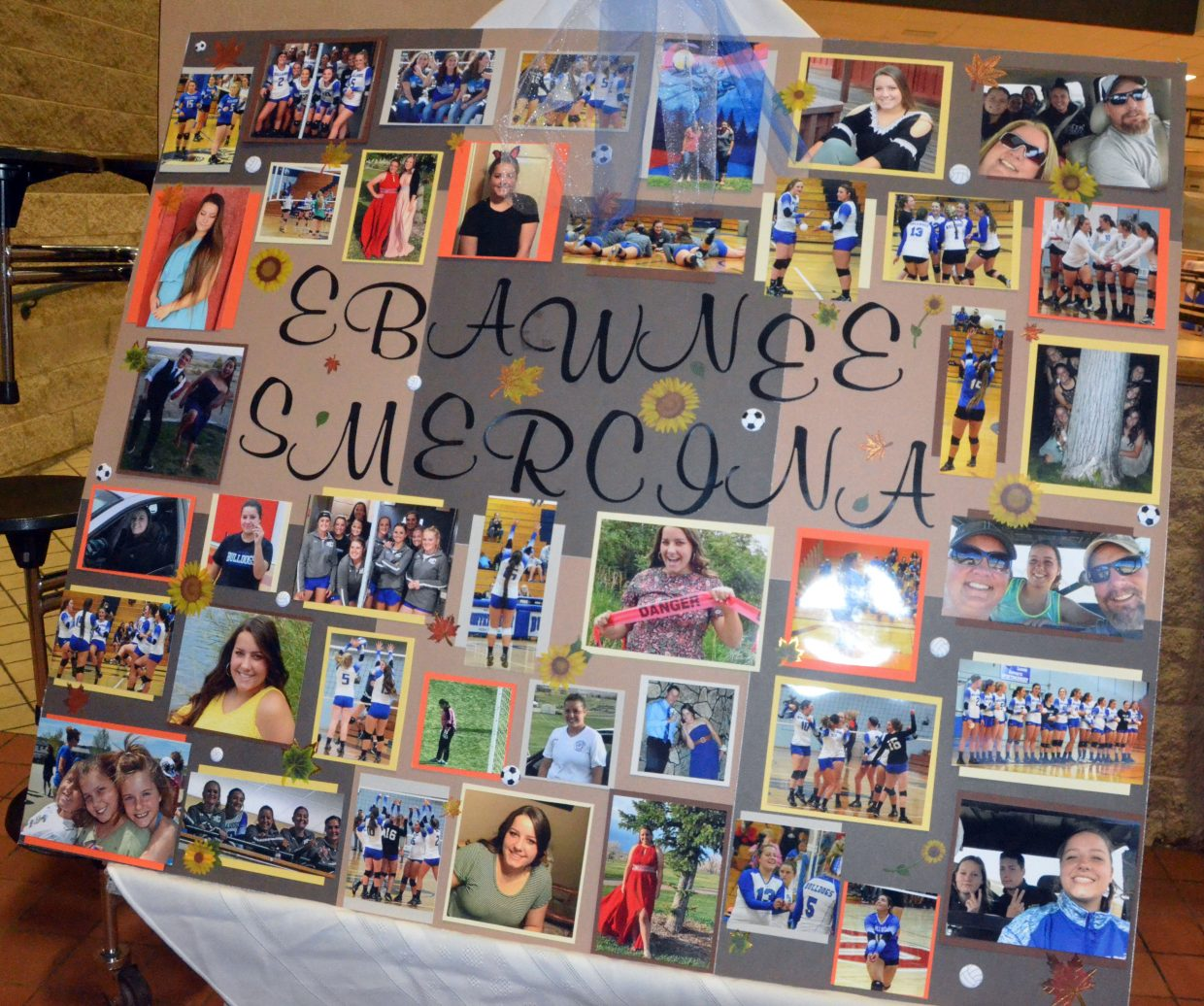 A collage in the lobby of  Moffat County High School celebrates Ebawnee Smercina as part of MCHS volleyball's Senior Night.