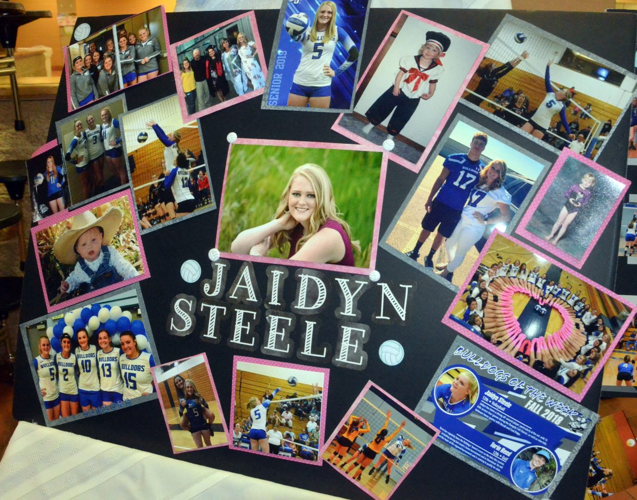 A collage in the lobby of  Moffat County High School celebrates Jaidyn Steele as part of MCHS volleyball's Senior Night.