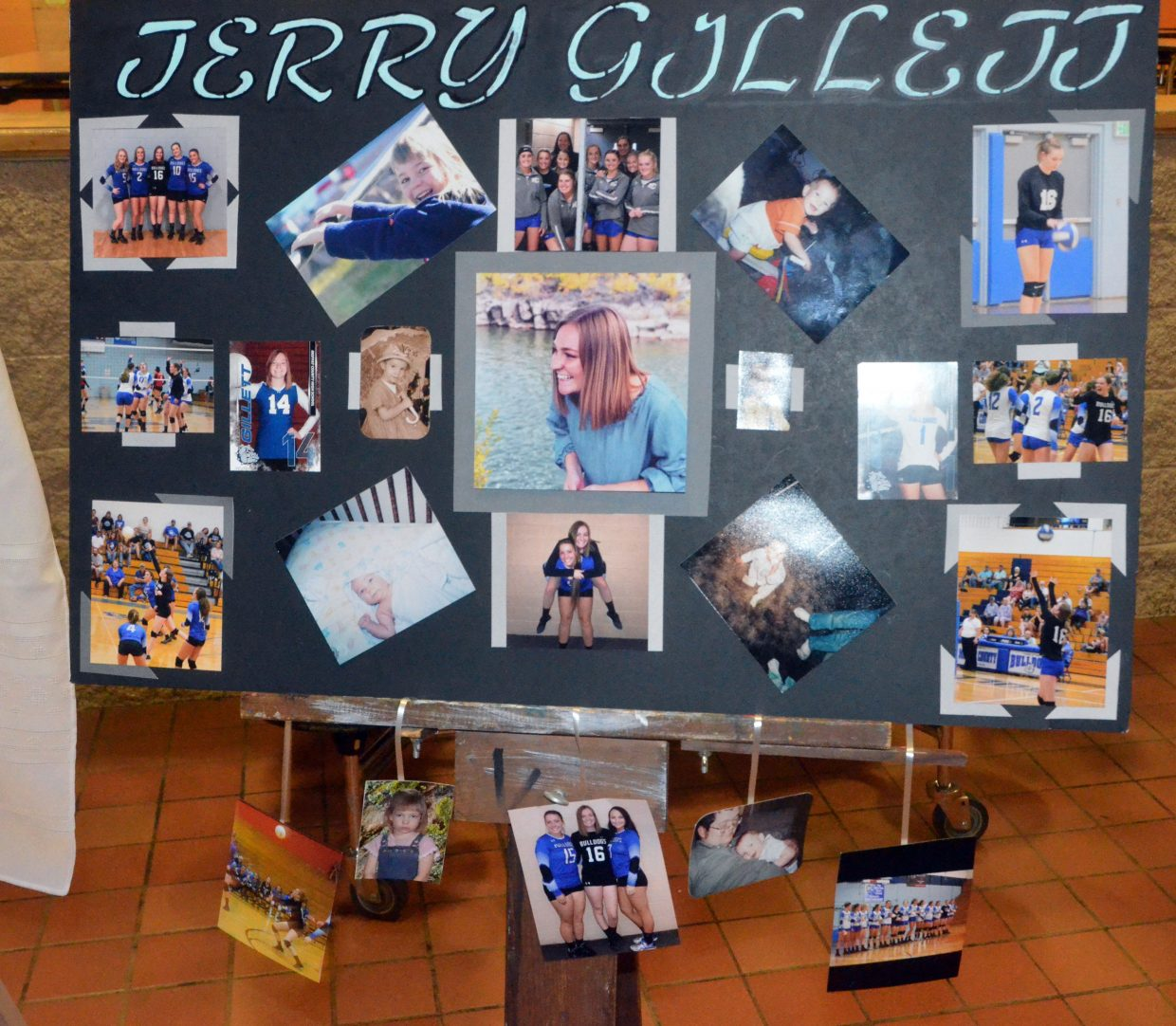 A collage in the lobby of  Moffat County High School celebrates Terry Gillett as part of MCHS volleyball's Senior Night.