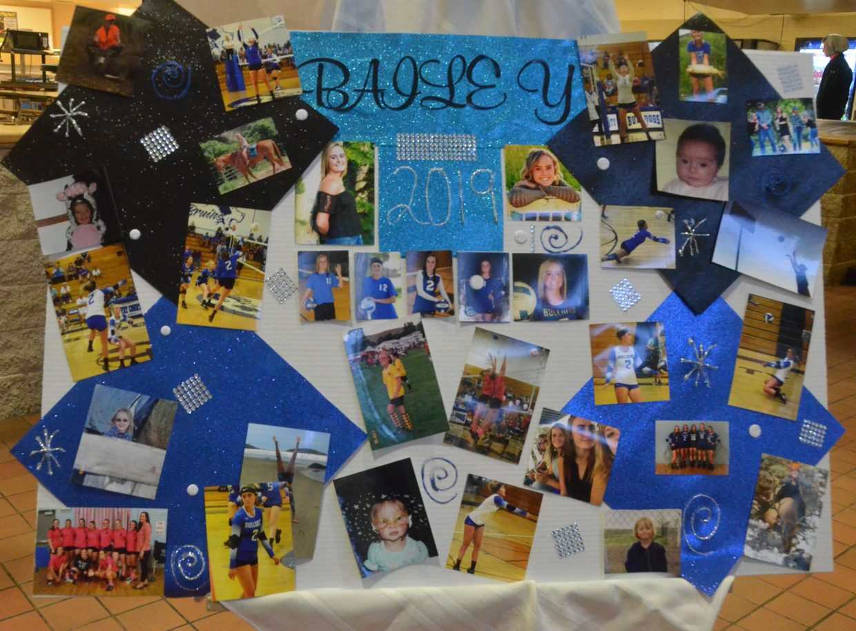 A collage in the lobby of  Moffat County High School celebrates Bailey Lawton as part of MCHS volleyball's Senior Night.