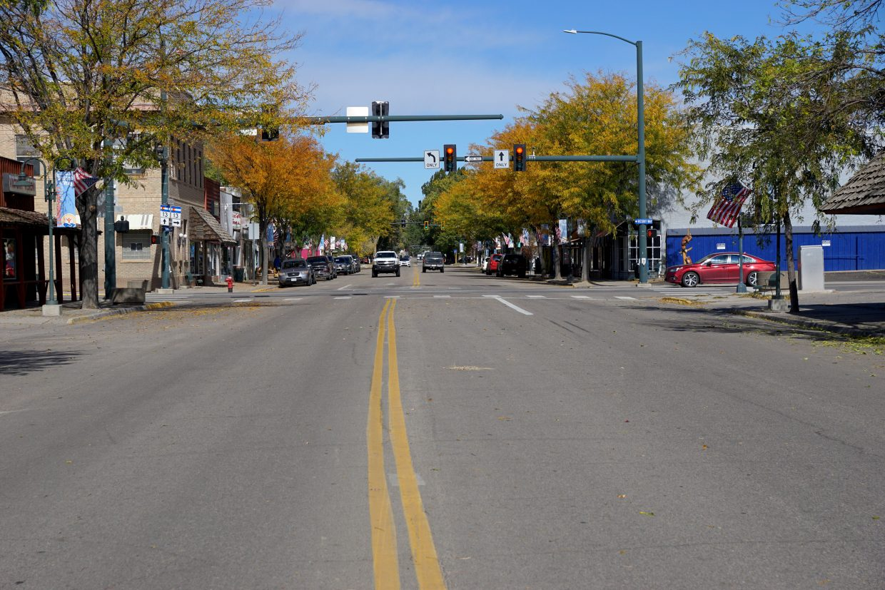 The view looking north on Yampa Avenue in October 2018.