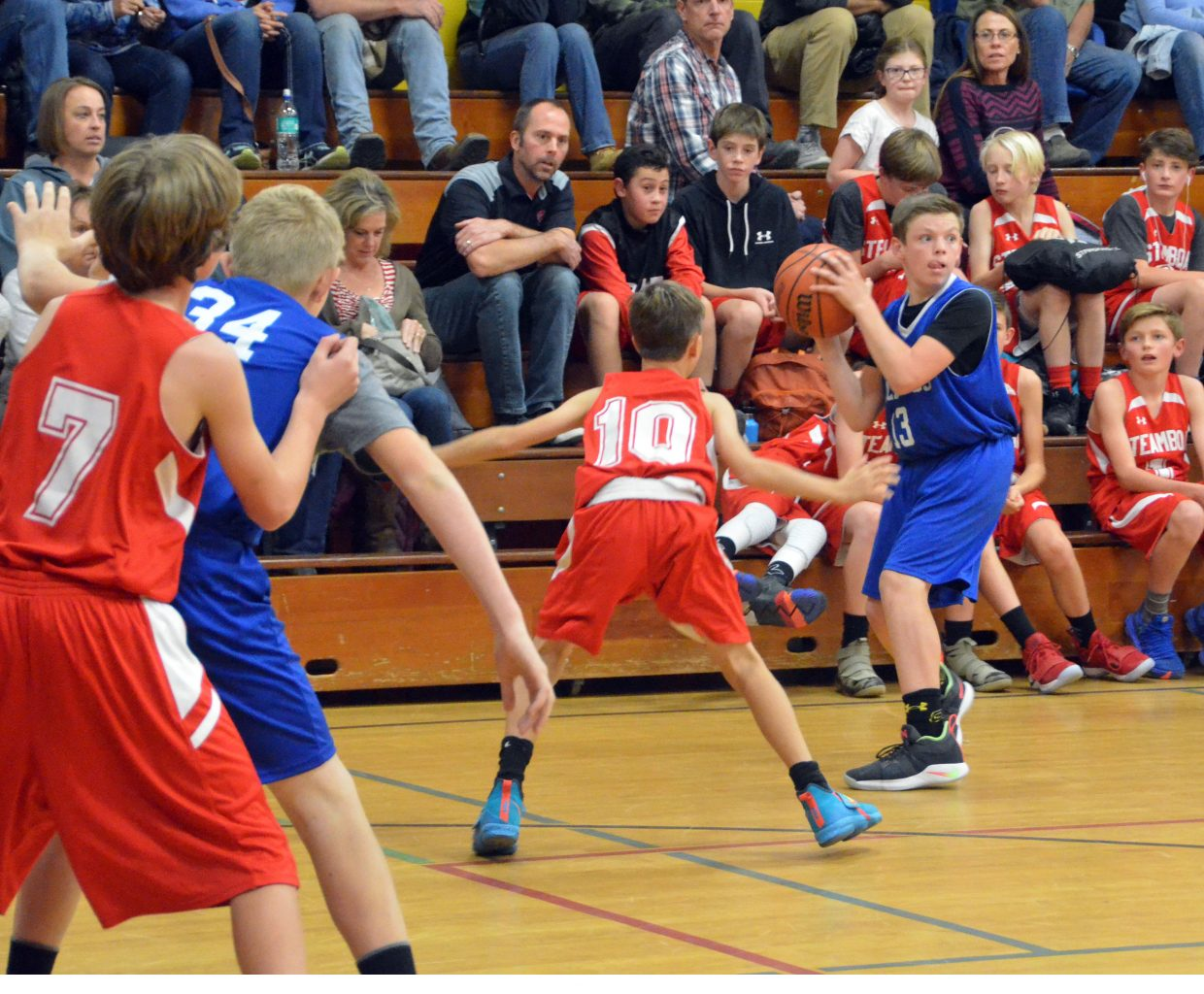 Craig Middle School's Hudson Jones seeks a teammate to pass to against Steamboat Springs.