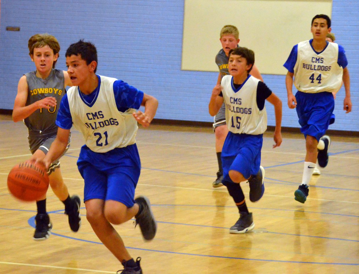 Craig Middle School basketball players transition back to offense.