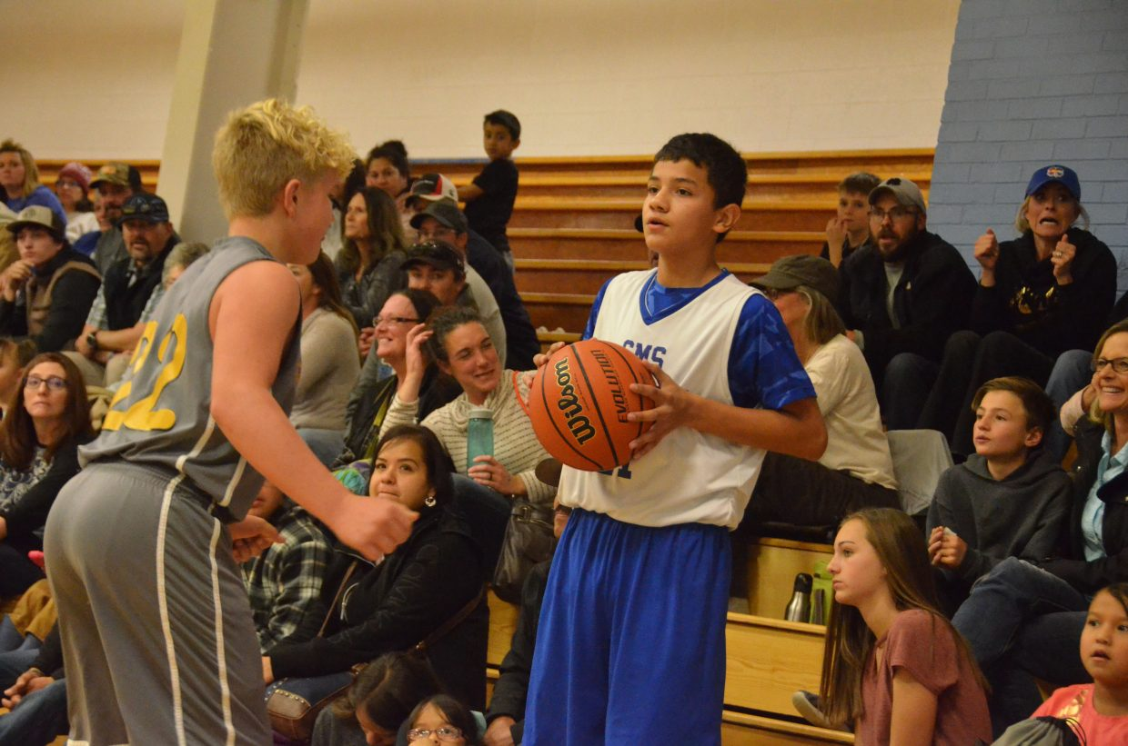 Craig Middle School's Johnny Lopez readies to inbound against Meeker.