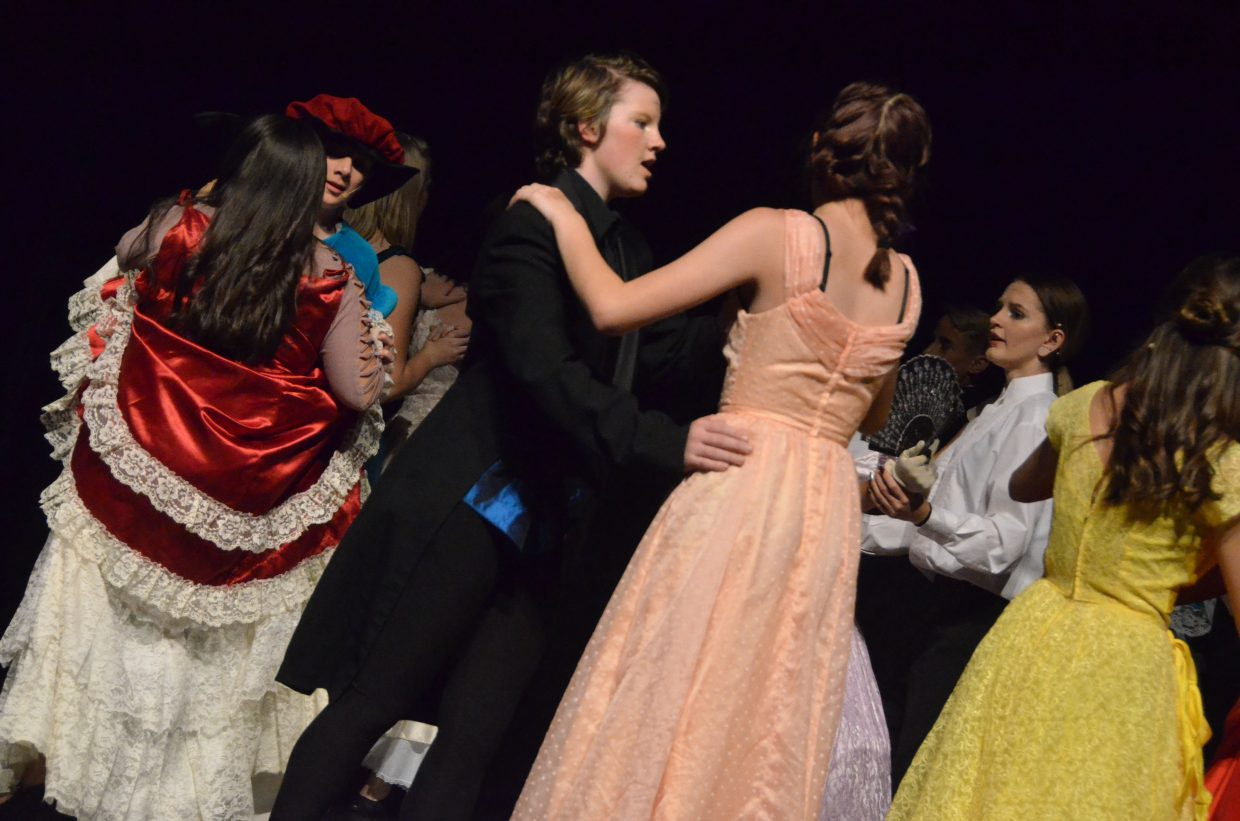 "Dancers are dressed their finest in the Moffat County High School production of ""Cinderella."""
