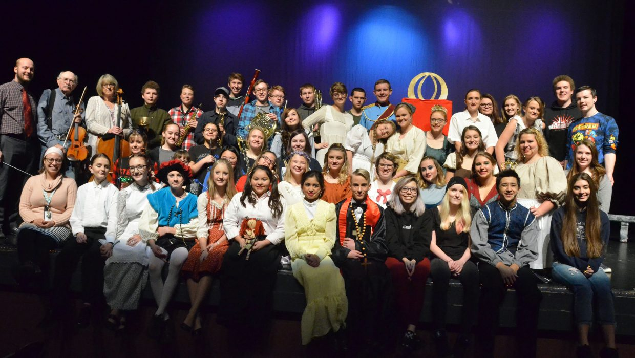 "The dozens of cast, crew and musicians of Moffat County High School production of ""Cinderella."""