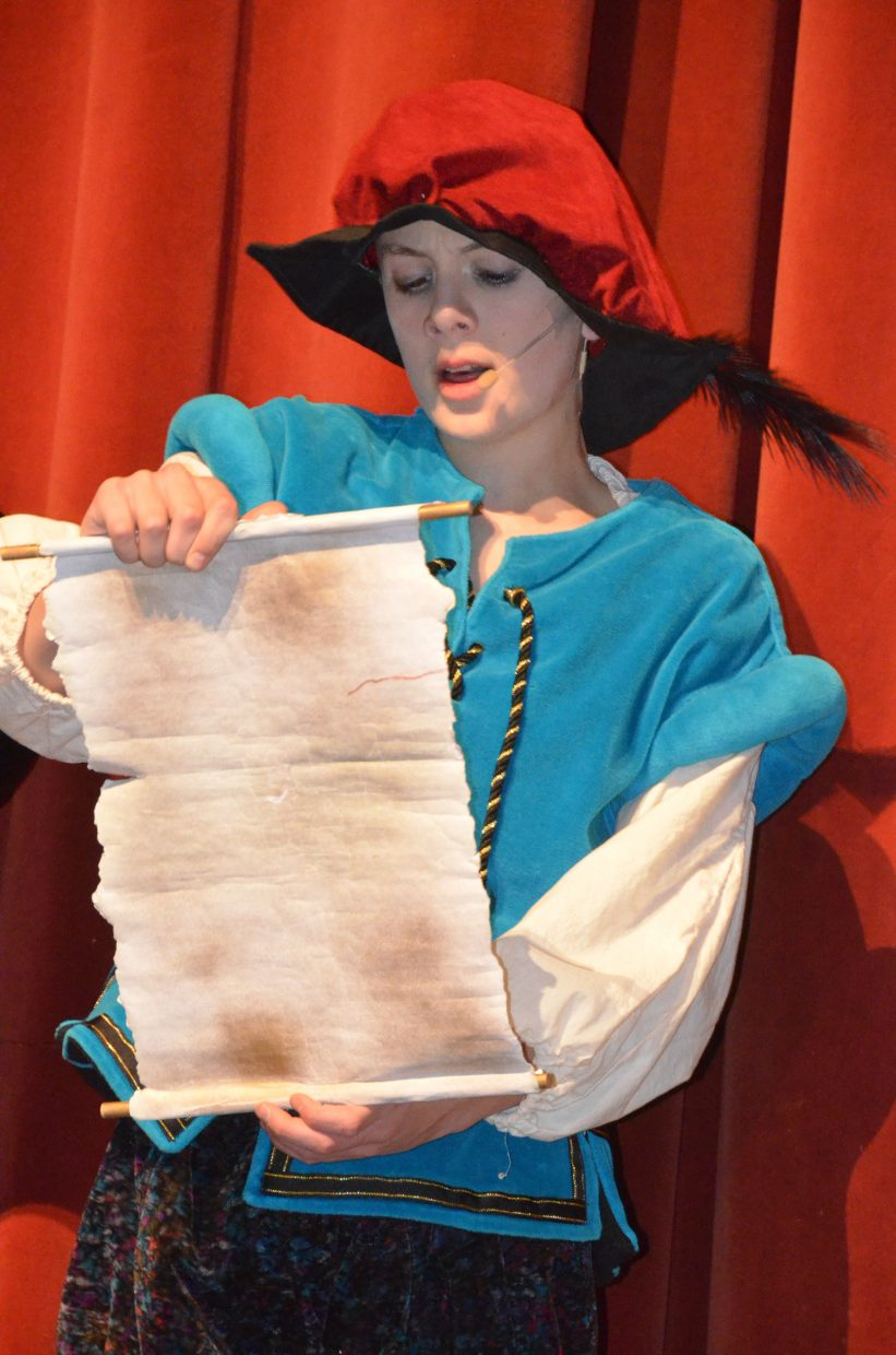 "The royal herald (Zac Prescott) makes a proclamation in the Moffat County High School production of ""Cinderella."""