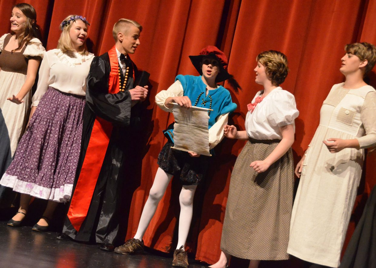 "Excitement is high for the townspeople upon learning of an upcoming ball in the Moffat County High School production of ""Cinderella."""