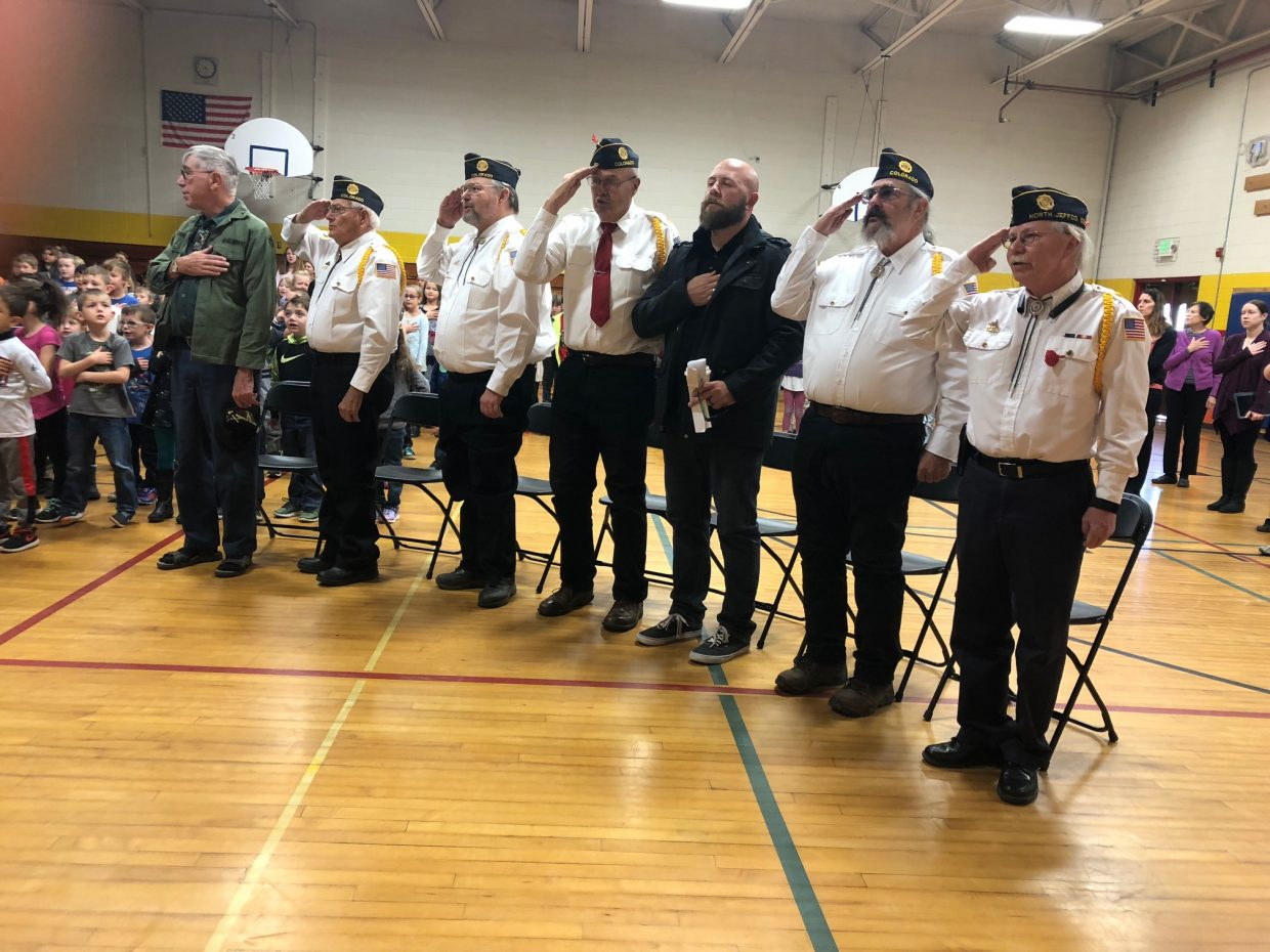 Veterans from American Legion Post 62 enjoying songs and thanks by Sandrock Elementary School students on Monday, Nov. 12.