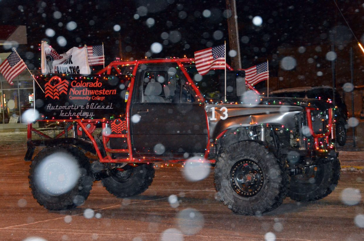 Harsh weather is snow problem for Colorado Northwestern Community College drivers along Victory Way during downtown Craig's Parade of Lights Saturday night.