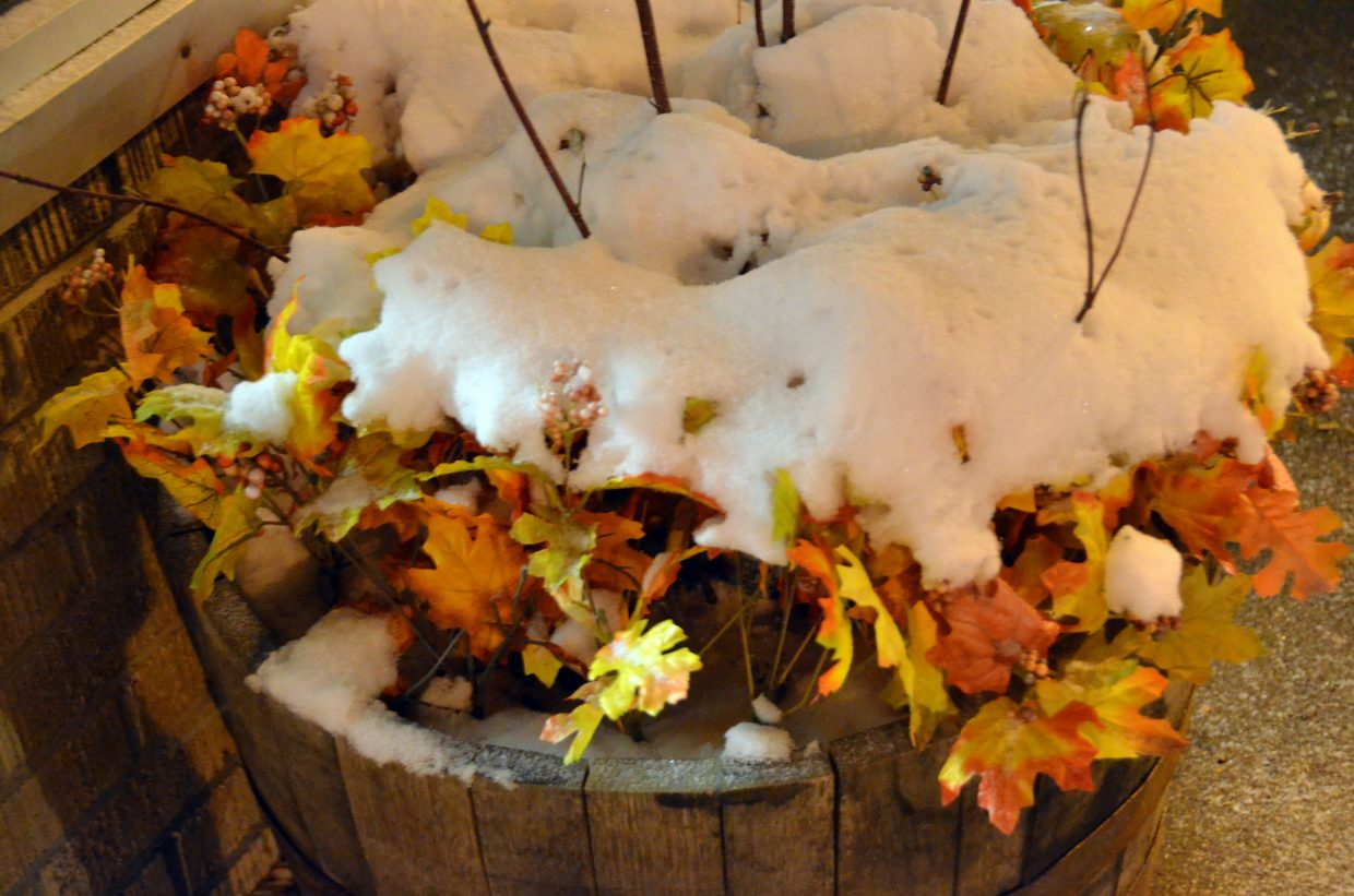 The autumn decor outside The Rusted Shear Salon receives a healthy dose of snow along with the rest of Craig Saturday.