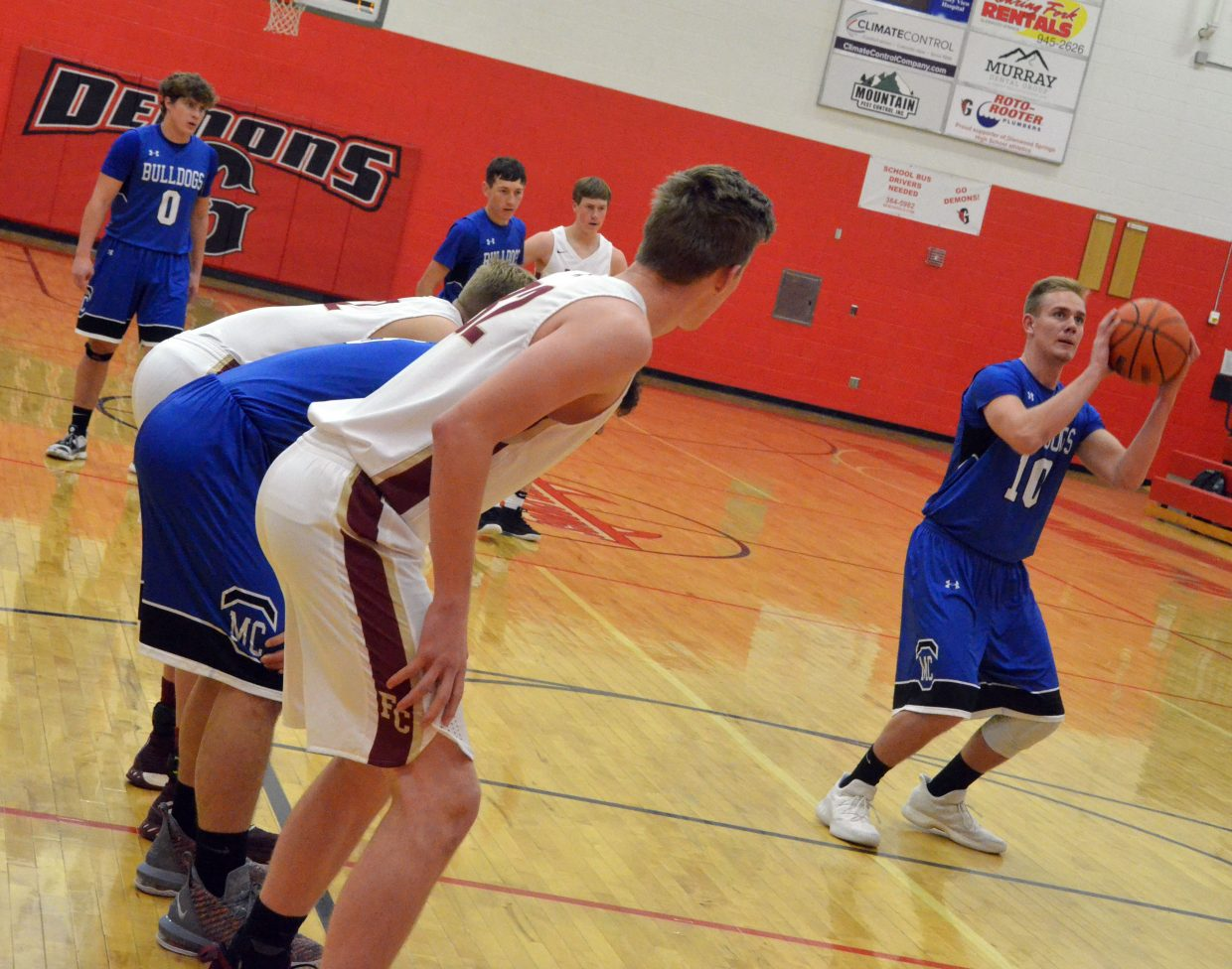 Moffat County High School's Colby Beaver takes a foul shot against Faith Christian.