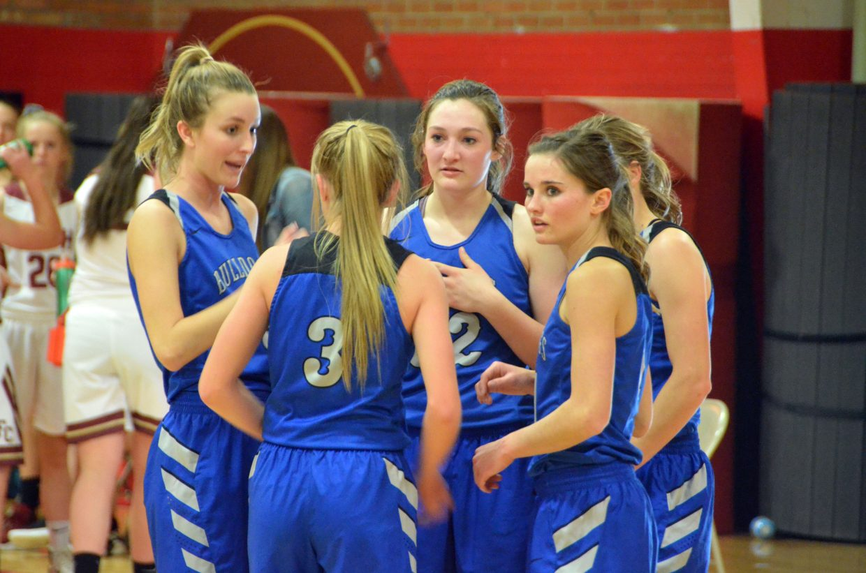 Moffat County High School girls basketball players confer during a timeout against Faith Christian.