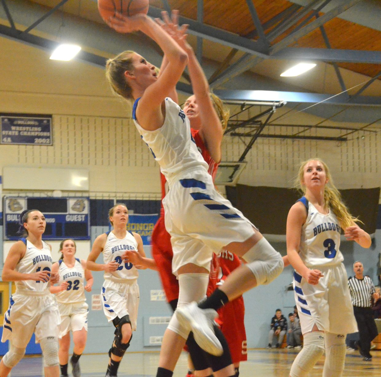 Moffat County High School's Kinlie Brennise goes for a close jumper during Wednesday's game against Steamboat Springs.