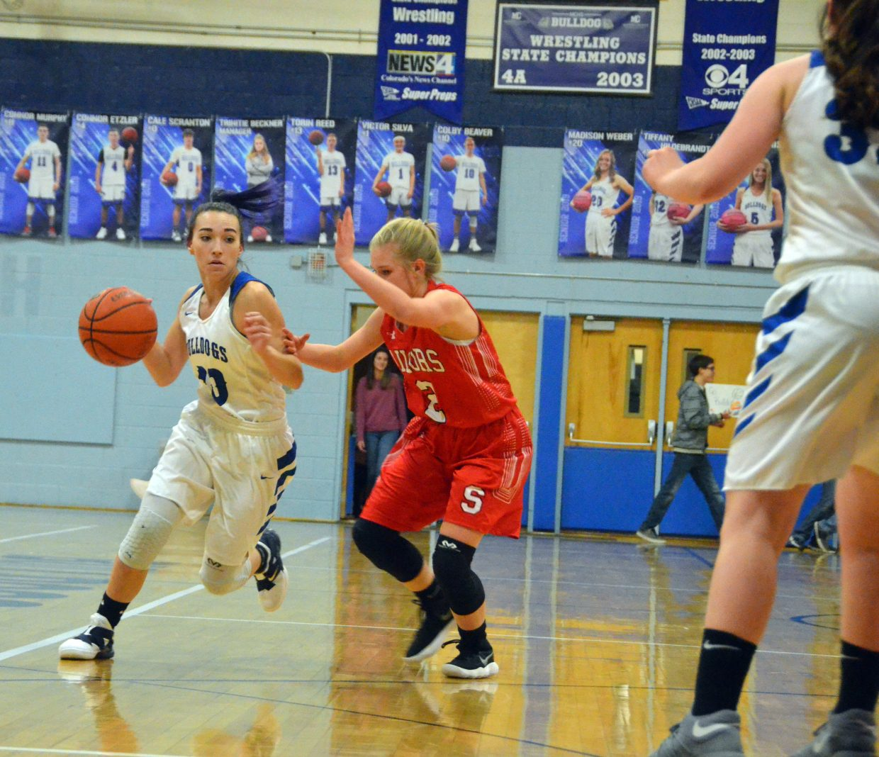 Moffat County High School's Quinn Pinnt pushes past the Sailor defense during Wednesday's game against Steamboat Springs.
