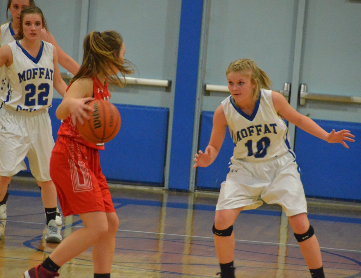 Moffat County High School's Jacie Evenson isn't letting anyone past during Wednesday's junior varsity game against Steamboat Springs.