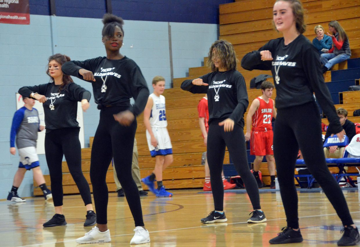 The Moffat County High School dance team performs at halftime.