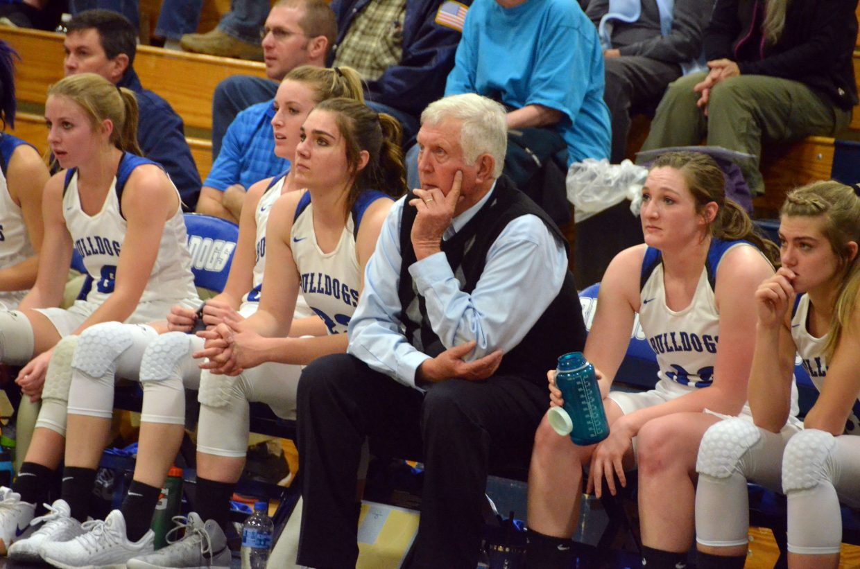 Moffat County High School girls basketball coach Jim Loughran observes the action on the floor during a game against Steamboat Springs.