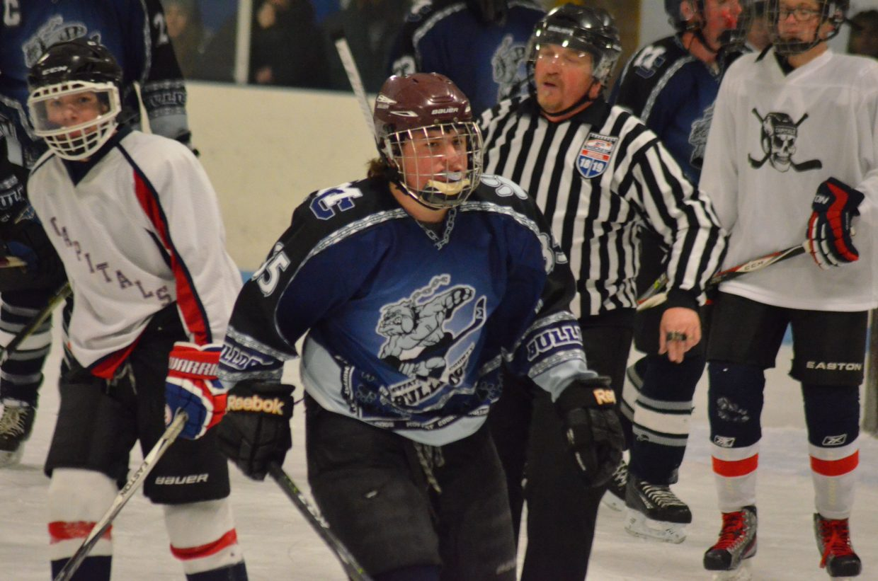 Garrett Anson comes off the ice during Moffat County Bulldogs' game against Cheyenne, Wyoming.