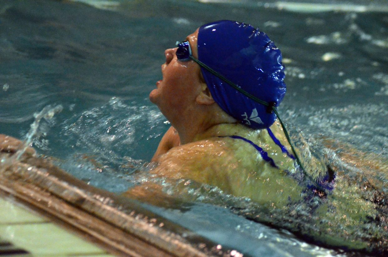 Moffat County High School's Ellina Jones moves into one last turn for the 200 individual medley at Friday's Glenwood Springs' Demon Meet.