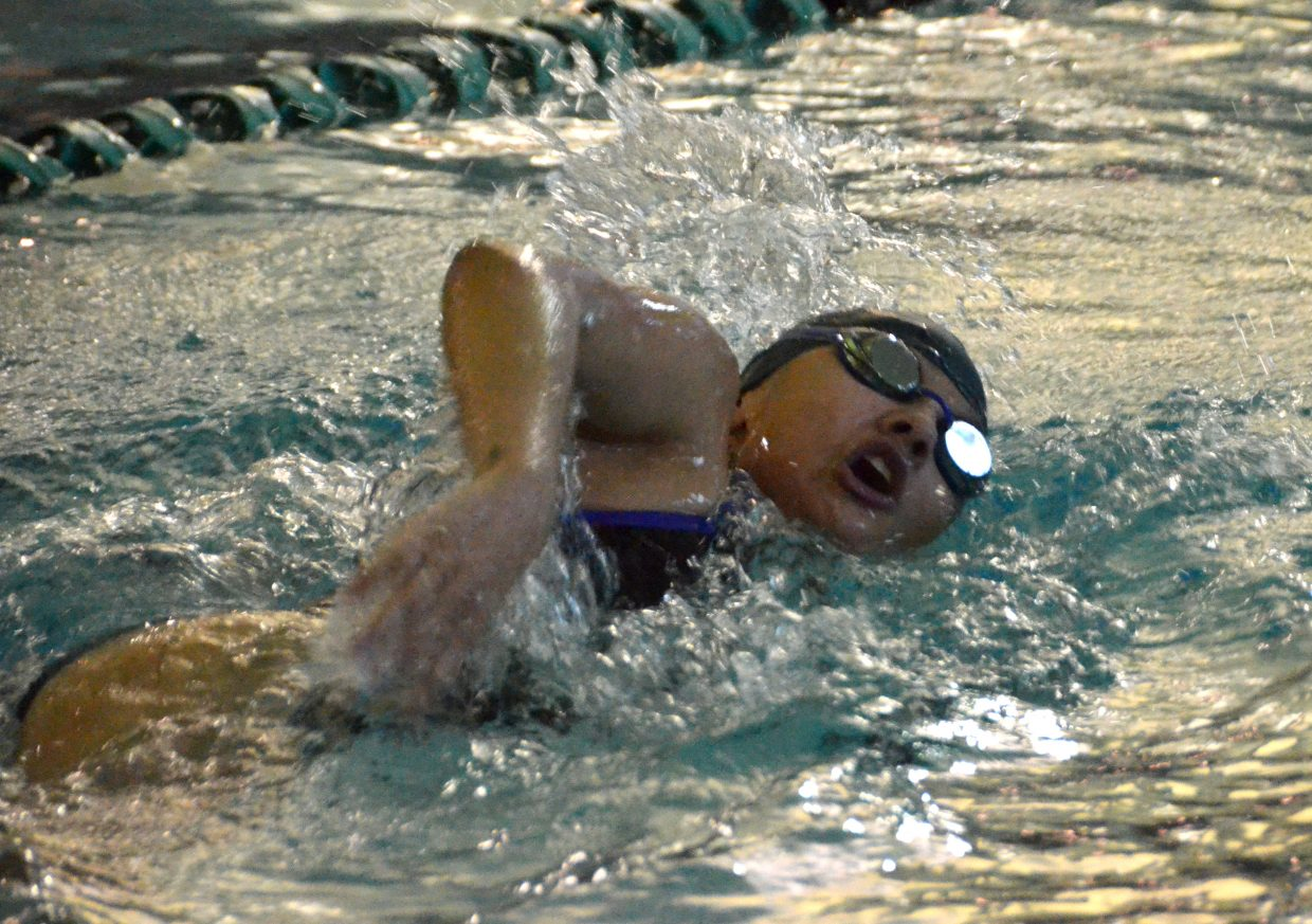 Moffat County High School's Alyssa Chavez swims the final stretch of the 200 freestyle at Friday's Glenwood Springs' Demon Meet.