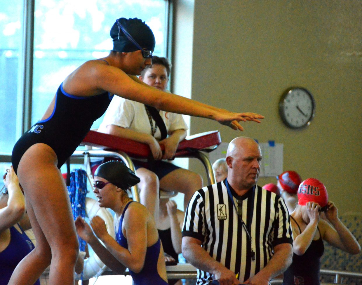 Moffat County High School's Alyssa Chavez is ready to dive in for her leg of the 200 medley relay at Friday's Glenwood Springs' Demon Meet.