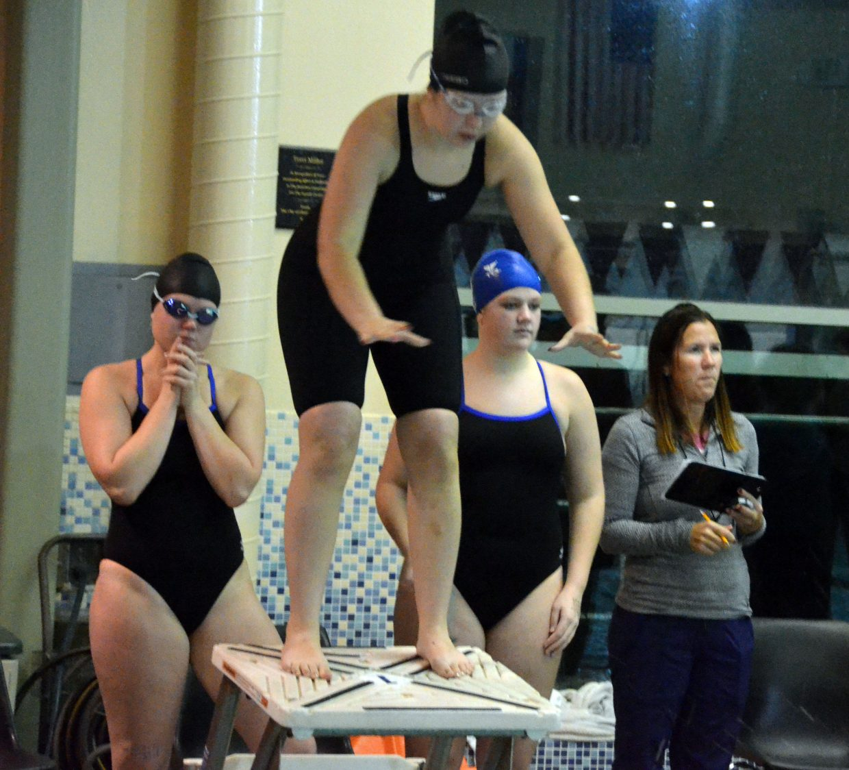 Moffat County High School's Allison Jacobson is ready to go for her leg of the 200 freestyle relay at Friday's Glenwood Springs' Demon Meet.
