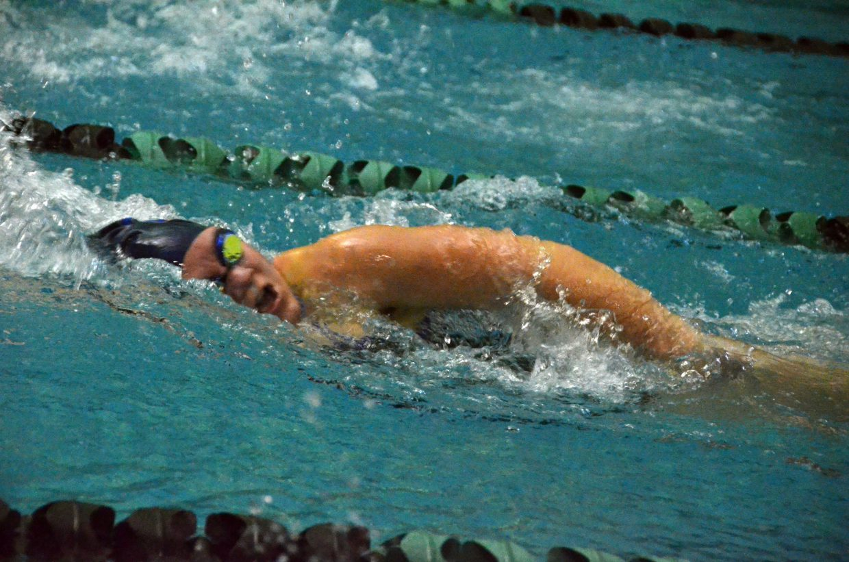 Moffat County High School's Katelynn Turner powers through the water in the 100 freestyle at Friday's Glenwood Springs' Demon Meet.