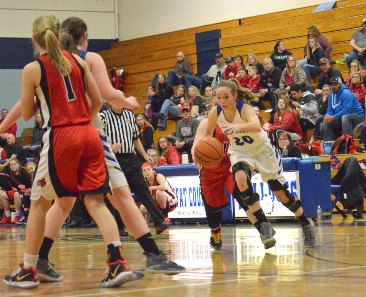 Moffat County High School's Madie Weber drives against Grand Valley.