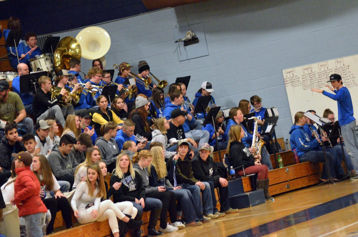 The Moffat County High School band performs during Saturday's basketball games.