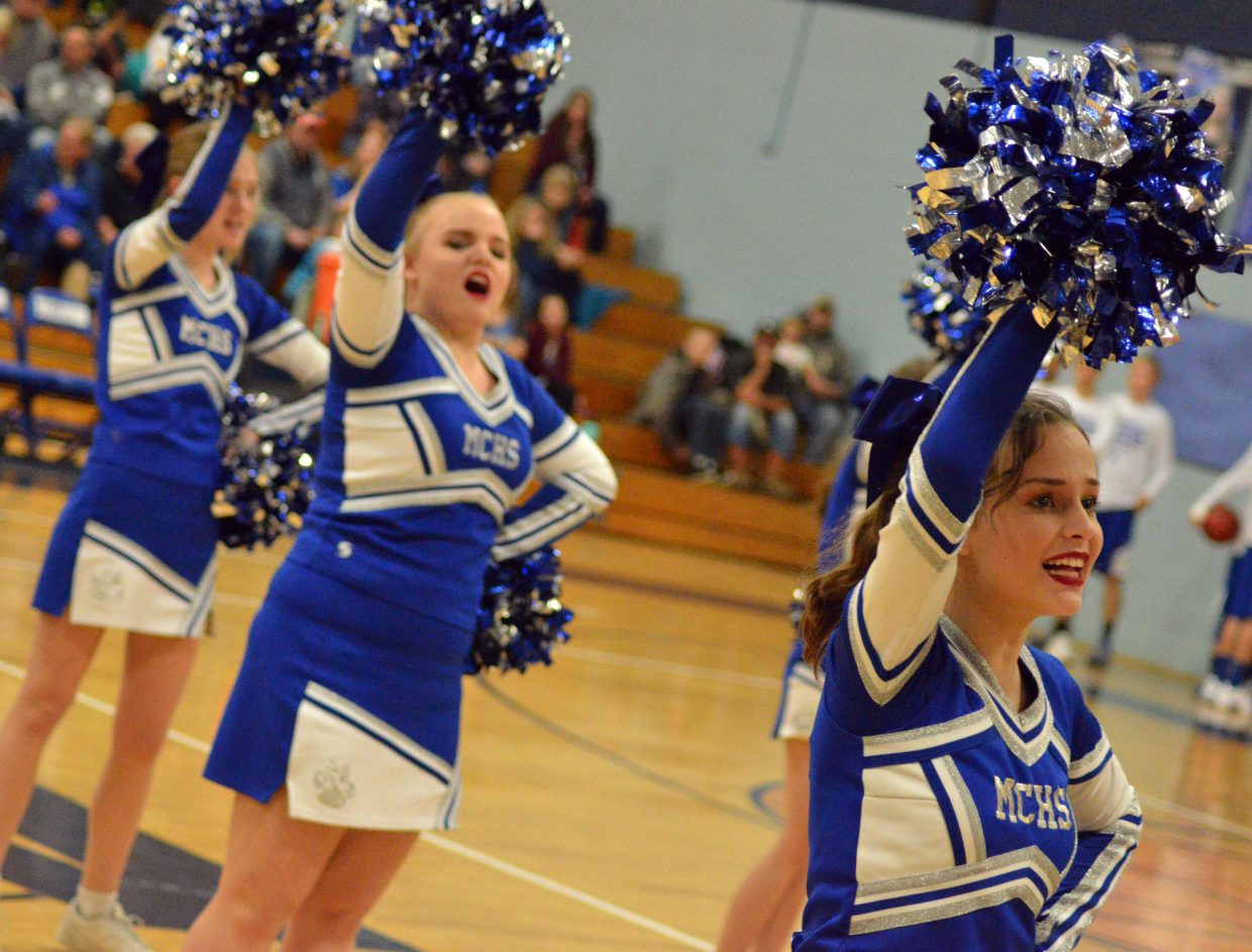 The Moffat County High School spirit squad pumps up the crowd during halftime.
