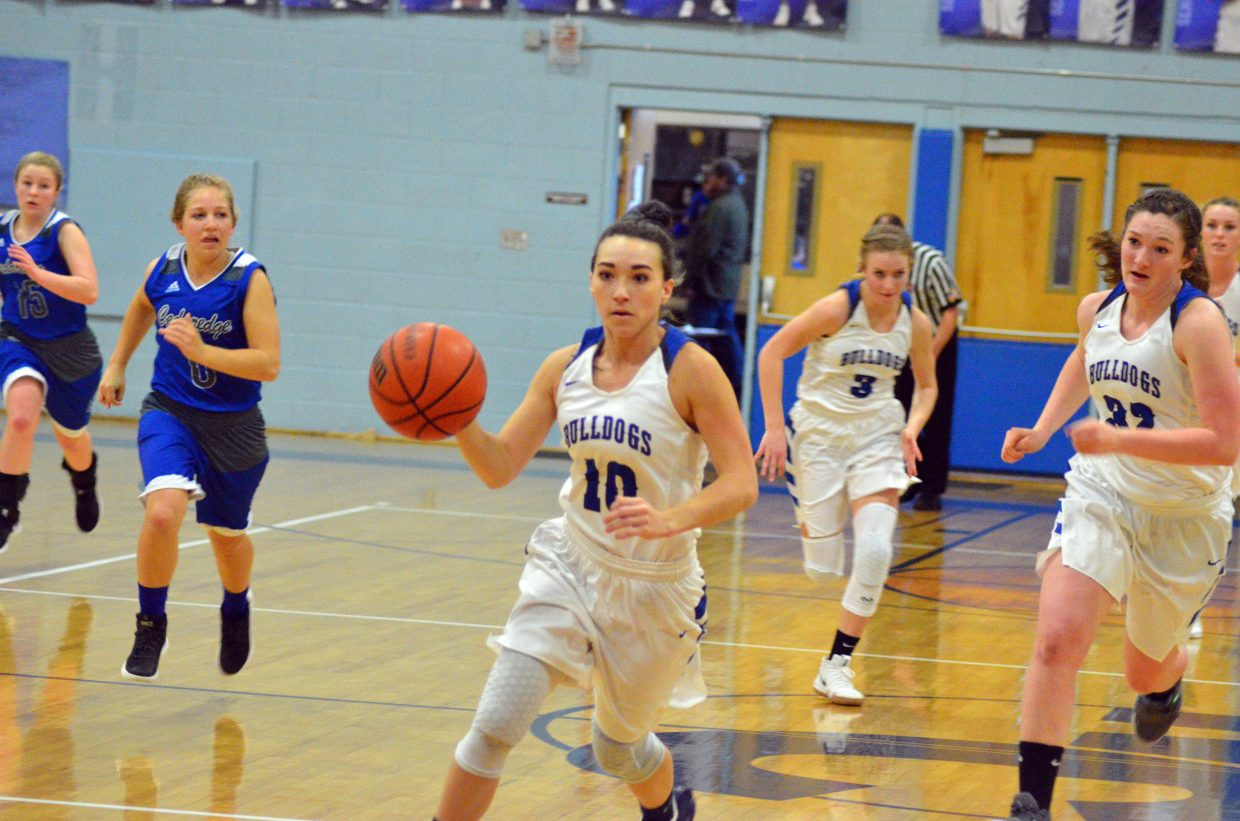 Moffat County High School's Quinn Pinnt looks to make the most of a turnover.