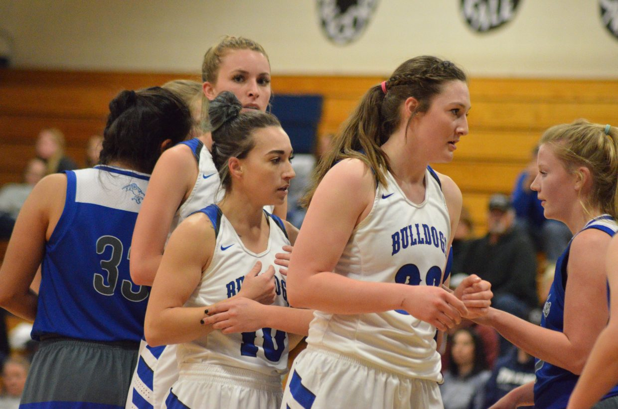 From left, Moffat County High School's Kinlie Brennise, Quinn Pinnt and Tiffany Hildebrandt to start a play.