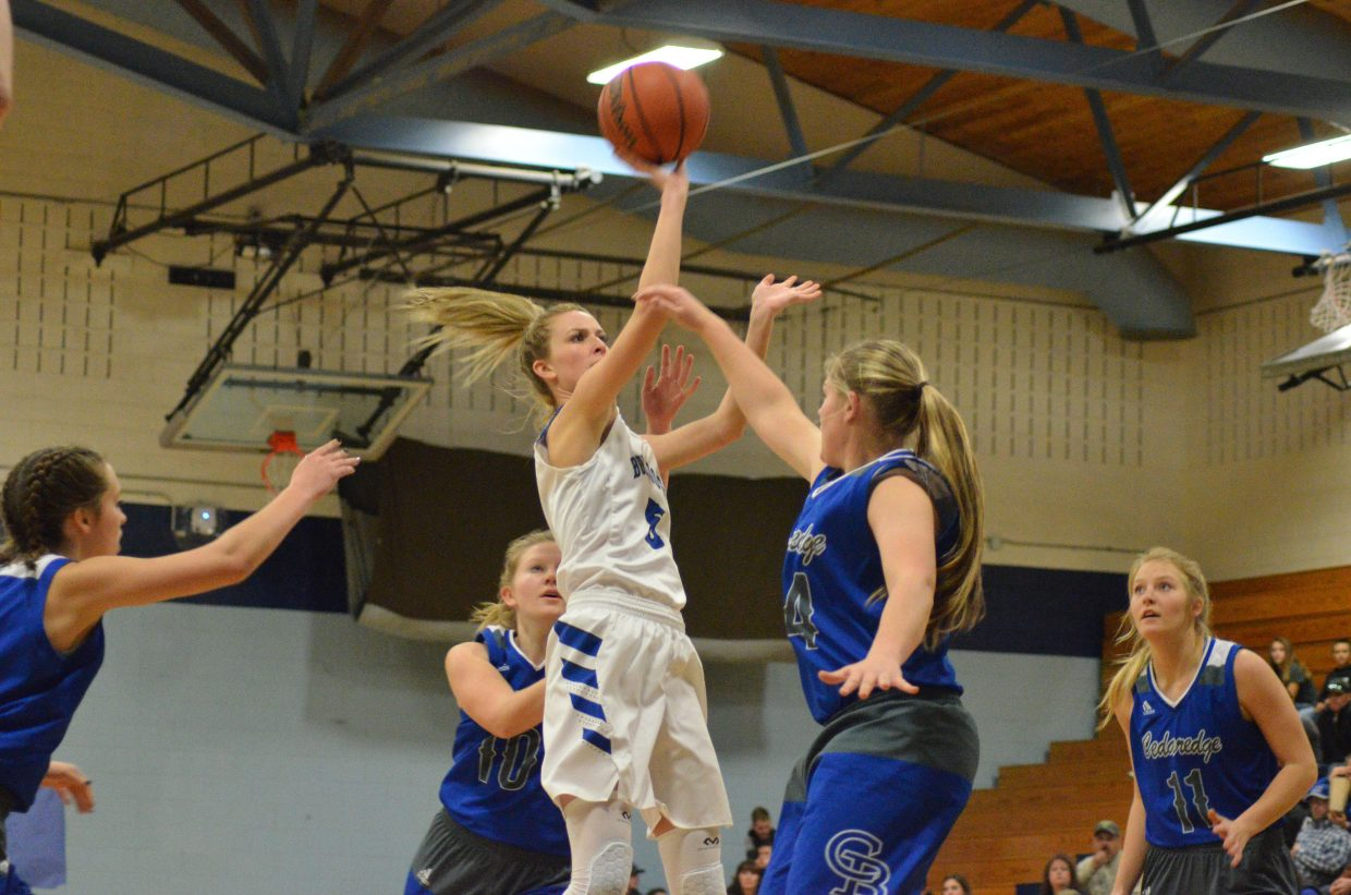 Moffat County High School's Kinlie Brennise puts up her first shot of the day.