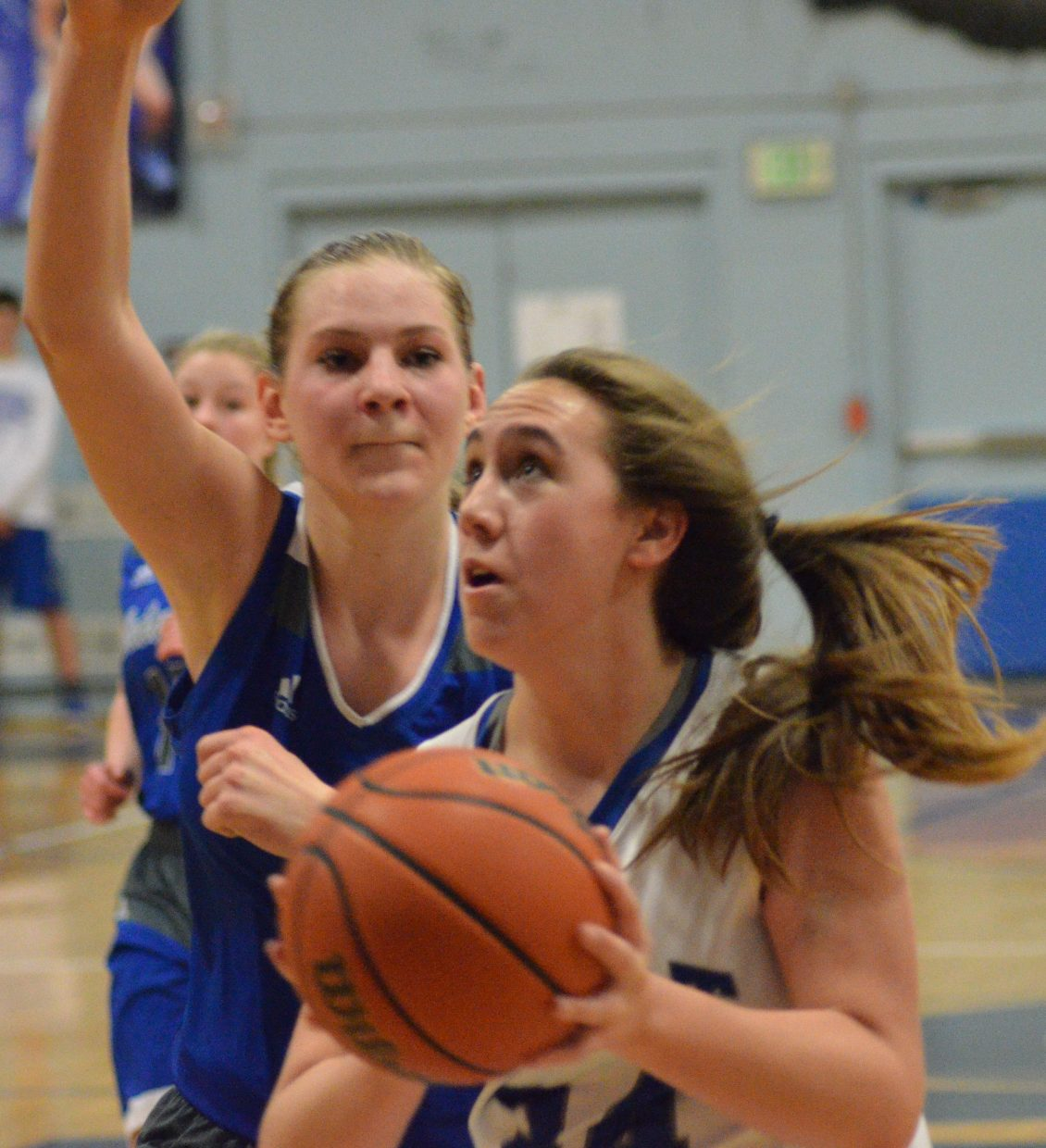 Moffat County High School's Amber Salazar dashes in for a layup during girls JV basketball.