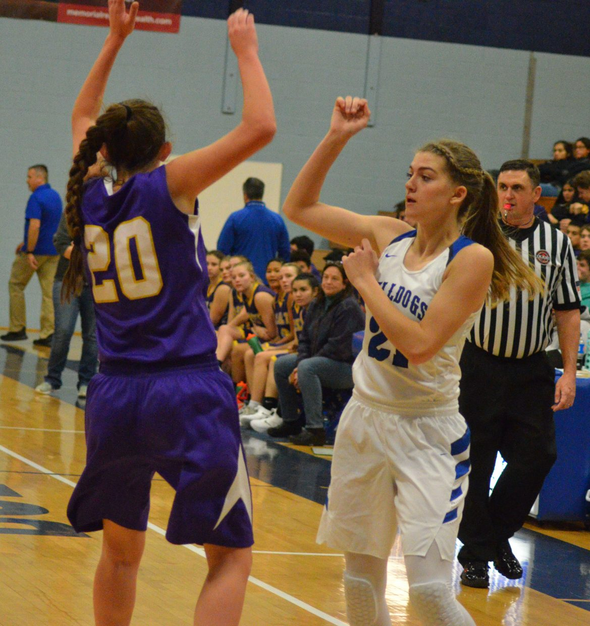 Moffat County High School's Rylie Felten checks to see that a pass made it to its intended target.