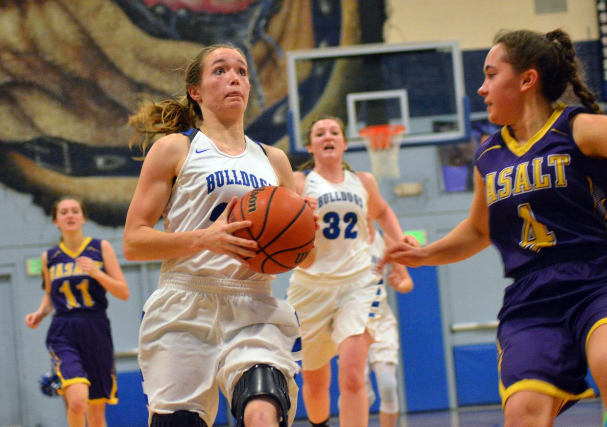 Moffat County High School's Madie Weber hustles in for a bucket against Basalt.