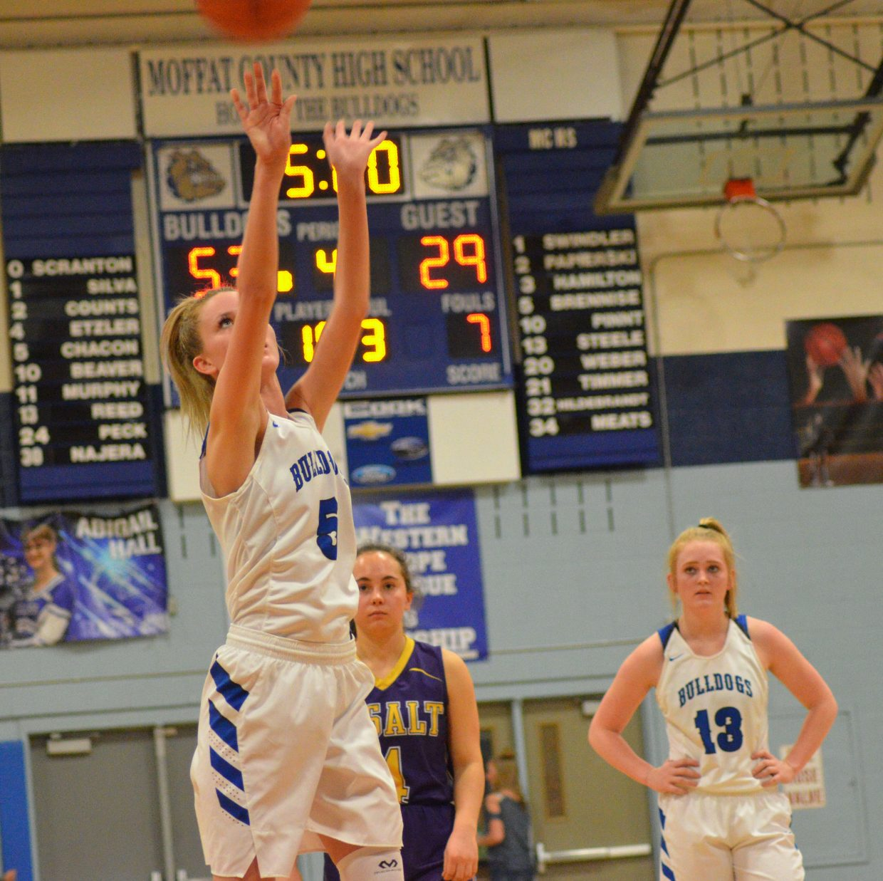 Moffat County High School's Kinlie Brennise puts up a free throw to increase the Lady Bulldog lead.