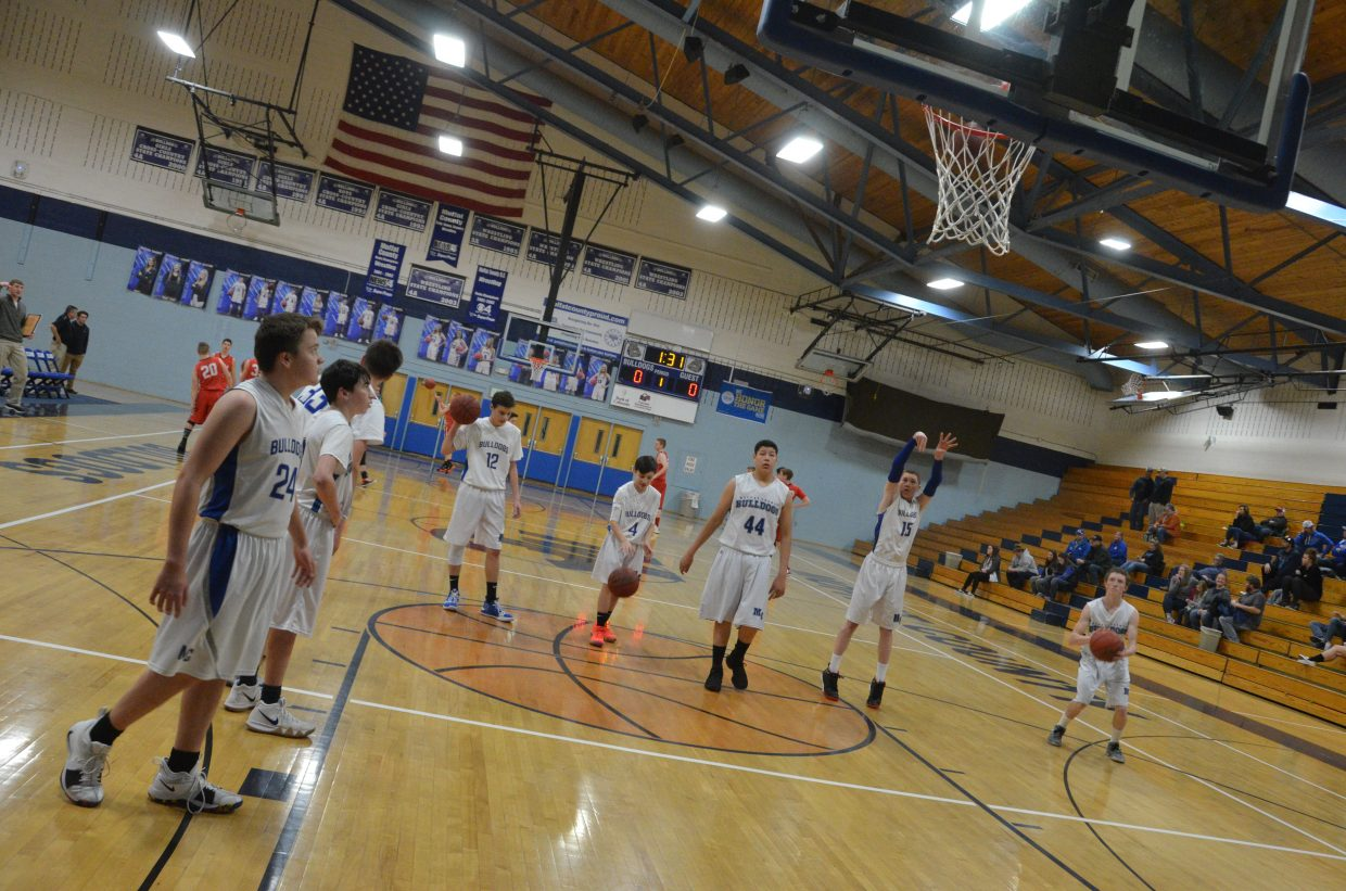 Moffat County High School warm up for their final game of the weekend during Bulldog C-Team's Saturday home tournament.