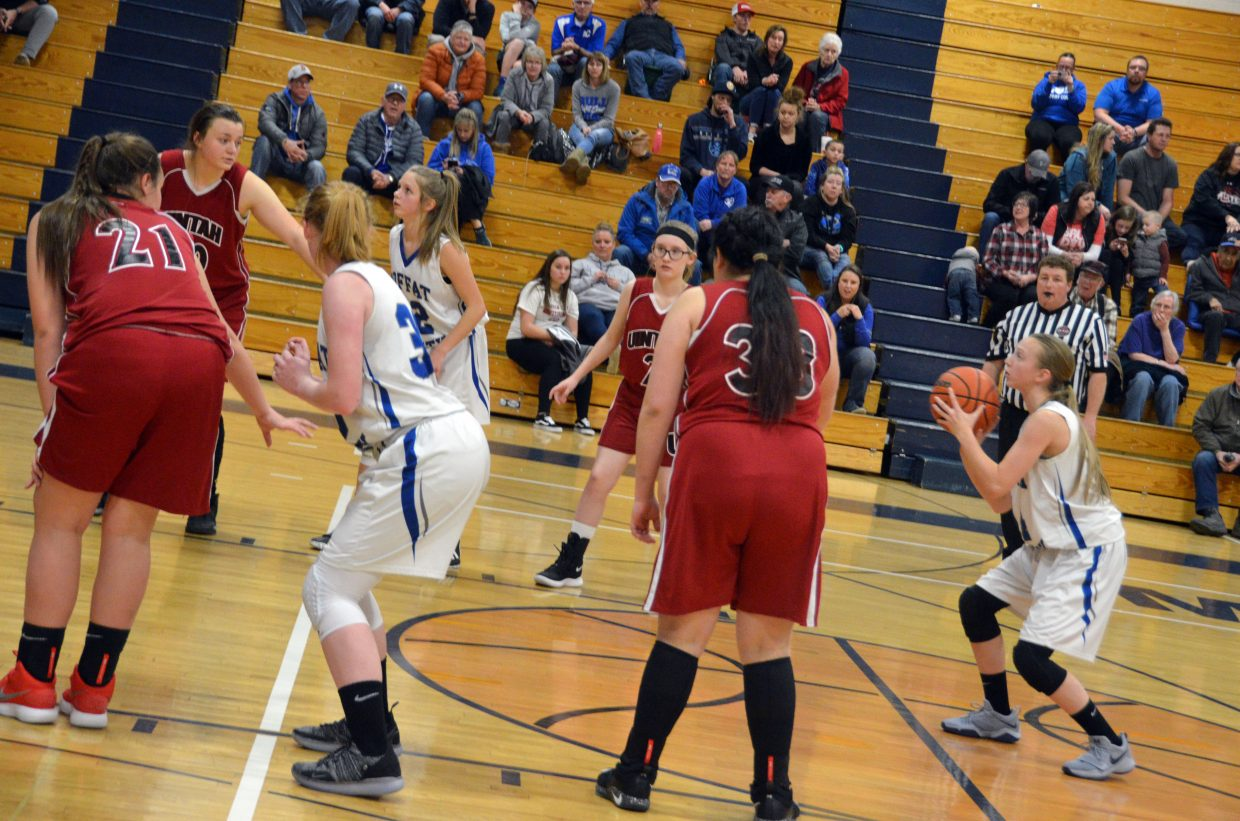 Moffat County High School's Haylee Ludgate shoots a late foul shot during Bulldog C-Team's Saturday home tournament.