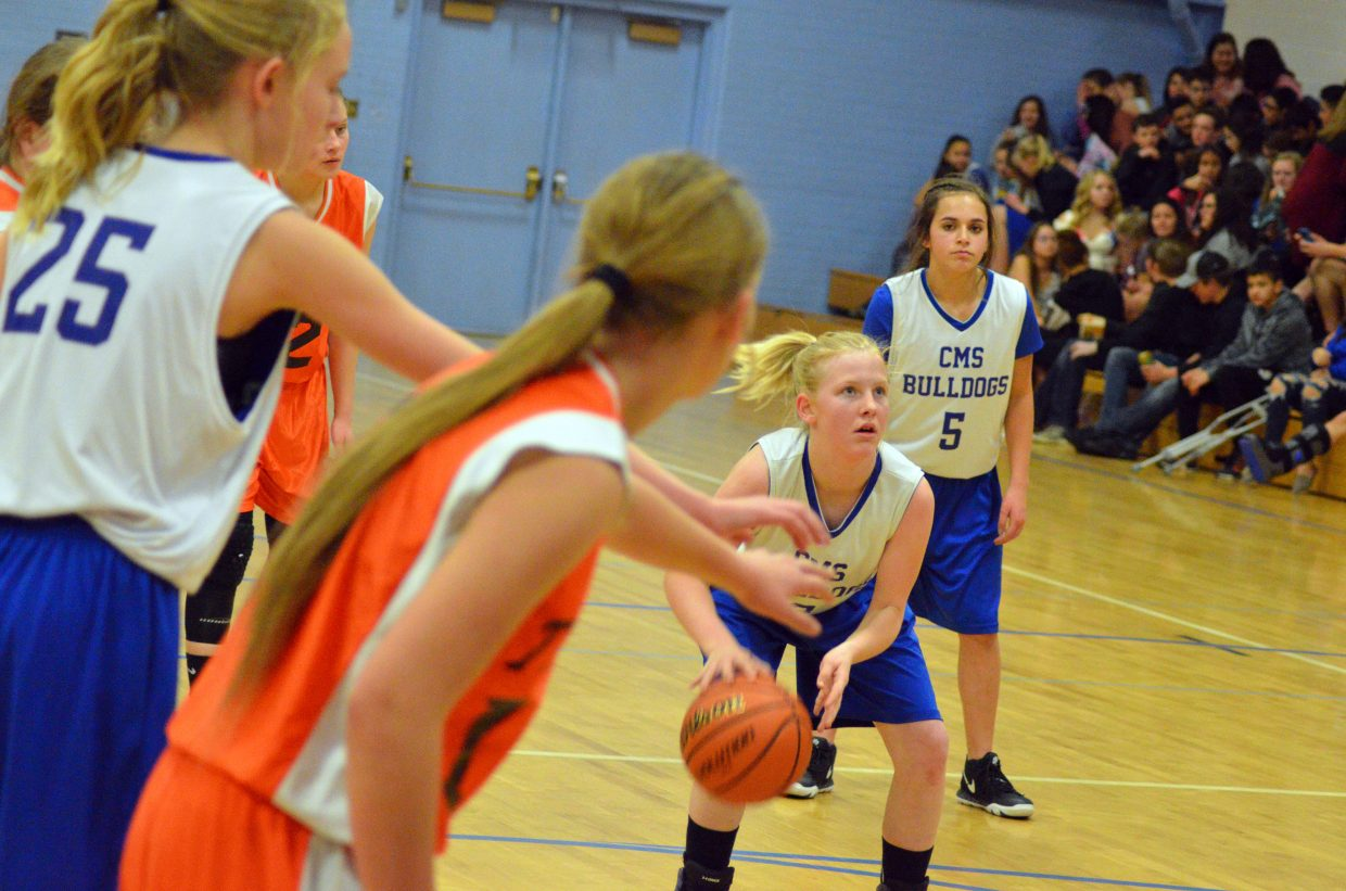 Craig Middle School's Katie Jo Knez dribbles before shooting a free throw against Hayden.