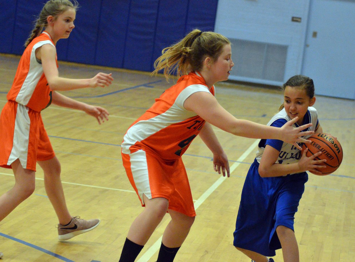 Craig Middle School's Val Teeter guards the ball against Hayden.