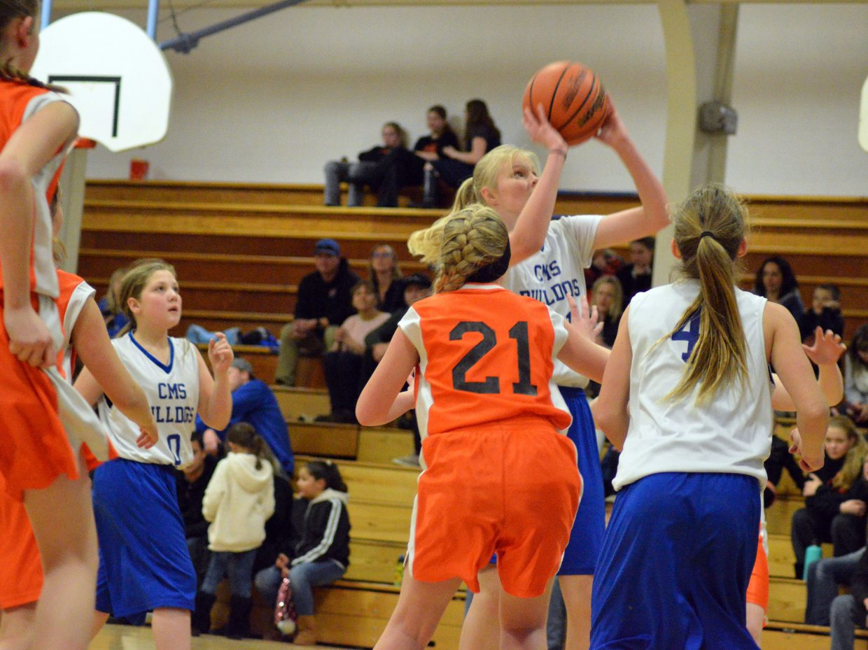 Craig Middle School's Hannah Crookston takes a shot from the high post against Hayden.