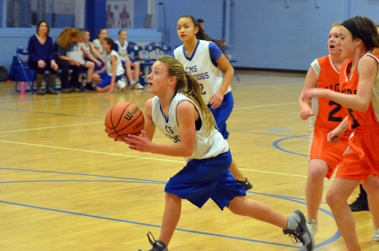 Craig Middle School's Abby Martinez has little opposition heading to the hoop against Hayden.
