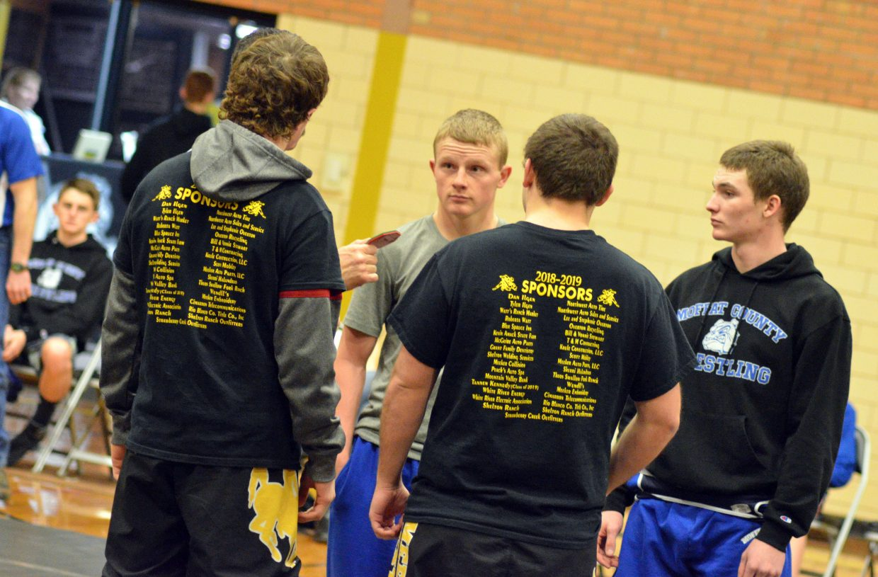 Moffat County High School wrestling captains Isiaih Herod and Daniel Caddy await a coin toss.
