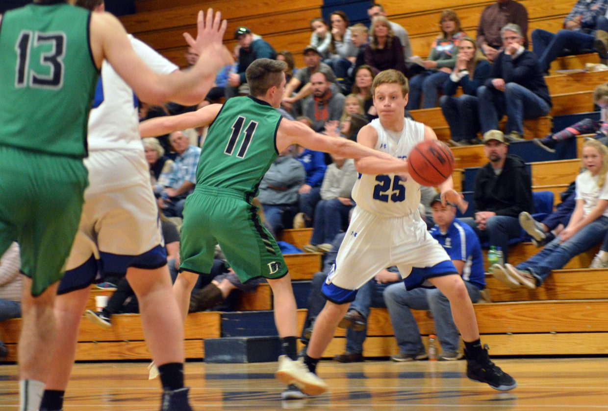 Moffat County High School's Ryan Peck is set to pass against Delta.