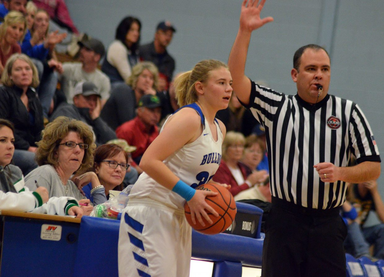 Moffat County High School's Brittnee Meats sets up the inbound pass against Delta.